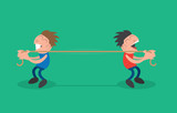 Two people pulling rope in opposite directions