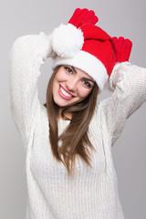 Christmas happy girl having fun