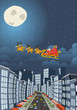 Santa Claus flying over big city on christmas night