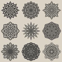 circular floral pattern set