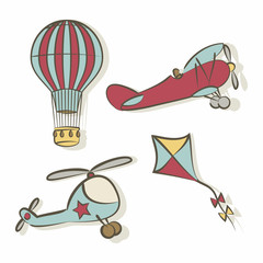 Set of flying icons
