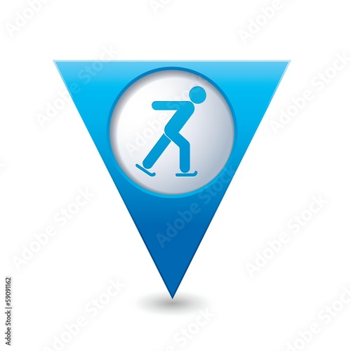 Map pointer with ice skater symbol