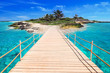 Pier to the tropical island of Caribbean Sea