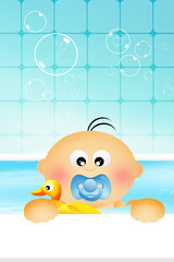 Baby boy in the bath