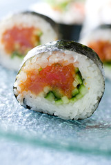 Closeup of fresh spicy tuna roll sushi.