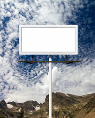 Blank Billboard Sign in the Mountains