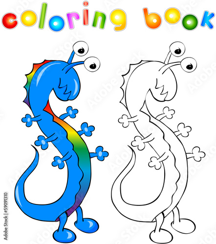 Coloring book rainbow dragon-monster