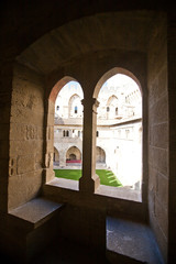 Medieval window in Papal Palace (circa 1370). Avignon, France