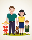 Happy Family Parents with Two Children and Dog