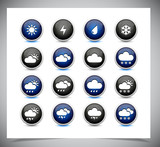 Set of color weather buttons.