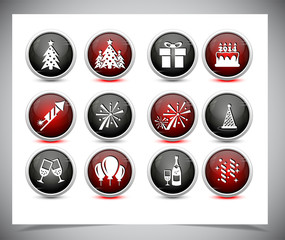 Set of color new year buttons.