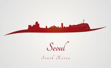 Seoul skyline in red