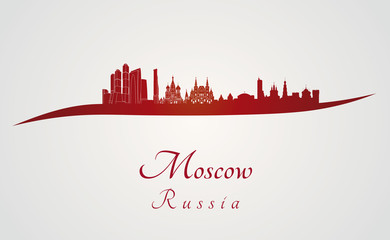 Moscow skyline in red