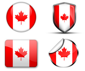 Canada flag button sticker and badge