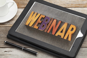 webinar word on digital tablet