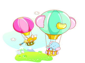 funny animals playing in the air with balloon