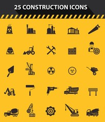Construction icons,Yellow background
