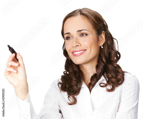 Businesswoman writing or drawing on screen, isolated