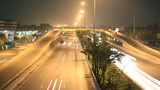 Highway traffic multiple lane, time lapse at night