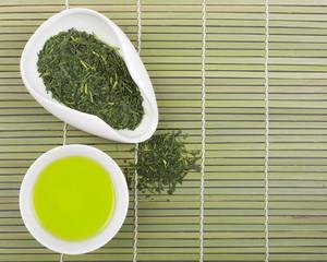 Set of green tea for tea ceremony.