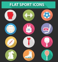 Flat sport icons,colorful version,vector