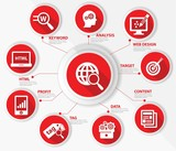 SEO concept,Internet technology,Red version,vector