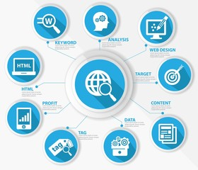 SEO concept,Internet technology,Blue version,vector