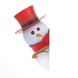 Snowman top hat peeps round a corner