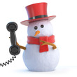 Snowman top hat answers the phone