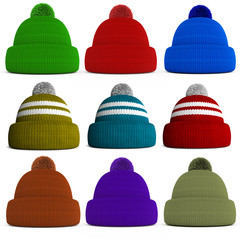 Set of knitted winter hats