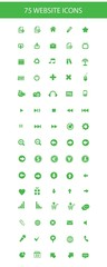 75 Website icons,Black version,on Green background,vector