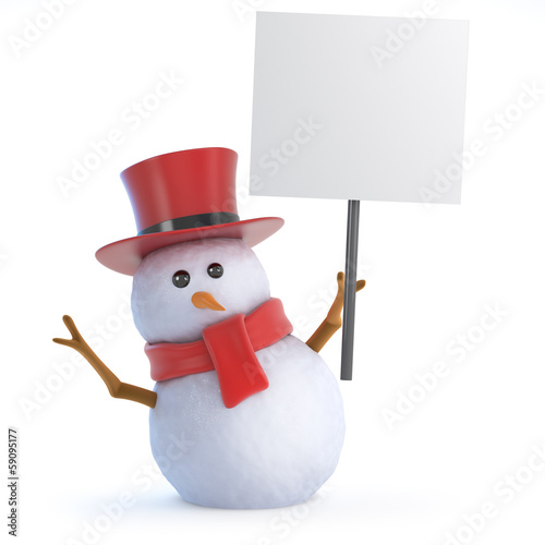 Snowman top hat holds up a placard