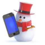 Snowman top hat with a new smartphone