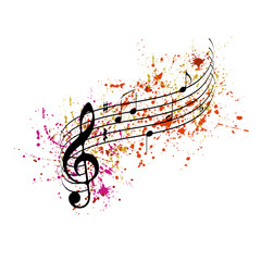 Musical notes with colored splashes
