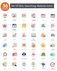 SEO (Search Engine Optimization)icons, Colorful version,vector