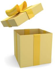 gelbes Geschenk Deckel oben