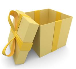 gelbes Geschenk Deckel unten