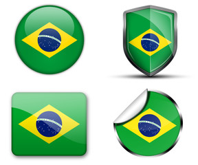 Brazil flag button sticker and badge