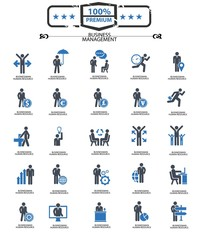 Set of Businessman icons,Blue version,vector