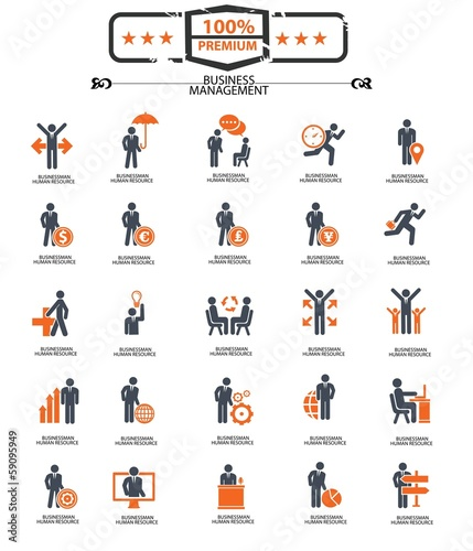 Set of Businessman icons,Orange version,vector