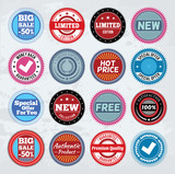 Collection of round promotion badges. EPS8.