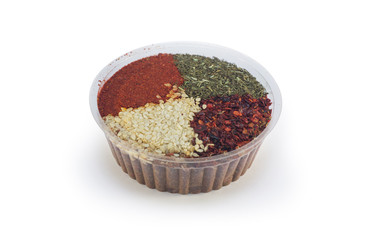 Spices in a container