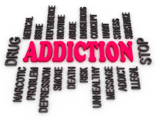 3d Addiction message. Substance or drug dependence conceptual de