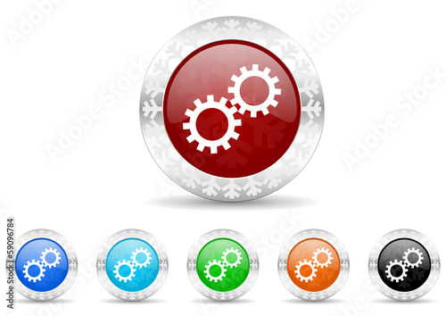 gears icon christmas vector set