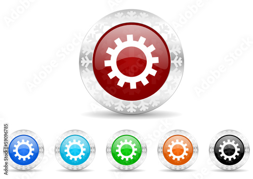 gear icon christmas vector set