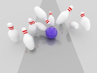Bowling strike illustration, 3d imagen