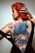 Beautiful sexy glamorous girl with tattoos.,