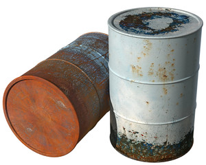 Two old, dirty with peeling paint barrel.