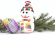 Christmas composition - snowman with branch fir tree and Christm
