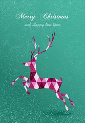 Merry Christmas abstract geometric reindeer card
